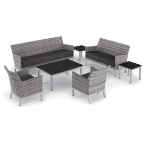Argento 7 -Piece Lounge and Travira Table Set - Powder Coated Aluminum Frame - Resin Wicker Argento Chair - Lite-Core