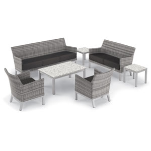 Argento 7 -Piece Lounge and Travira Table Set - Powder Coated Aluminum Frame - Resin Wicker Argento Chair - Lite-Core Ash