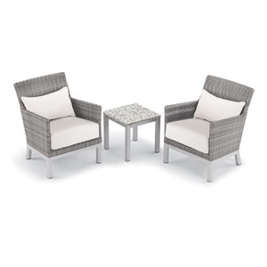 Argento 3 -Piece Club Chair with Lumbar Pillows and Travira End Table Set - Powder Coated Aluminum Frame - Resin Wicker