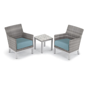 Argento 3 -Piece Club Chair and Travira End Table Set - Powder Coated Aluminum Frame - Resin Wicker Argento Chair - Lite-Core