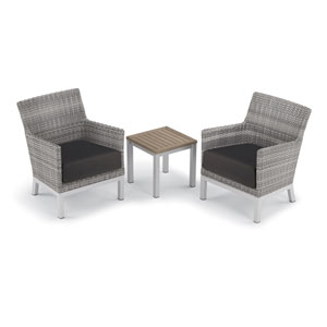 Argento 3 -Piece Club Chair and Travira End Table Set - Powder Coated Aluminum Frame - Resin Wicker Argento Chair - Tekwood