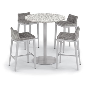 Travira 5 -Piece 36-Inch Round Bar Table and Argento Side Rails Bar Stool Set - Powder Coated Steel and Aluminum Frame -