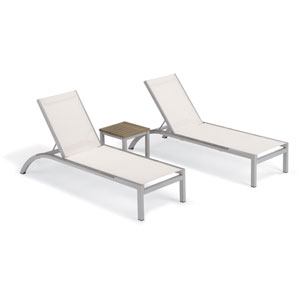 Argento 3 -Piece Chaise and Travira End Table Set - Powder Coated Aluminum Frame - Tekwood Vintage Table Top - Resin Wicker