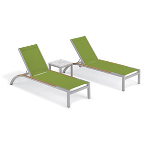 Argento 3 -Piece Chaise and Travira End Table Set - Powder Coated Aluminum Frame - Lite-Core Ash Table Top - Tekwood Natural