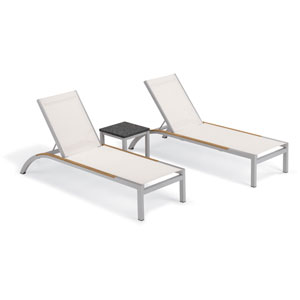 Argento 3 -Piece Chaise and Travira End Table Set - Powder Coated Aluminum Frame - Lite-Core Charcoal Table Top - Tekwood