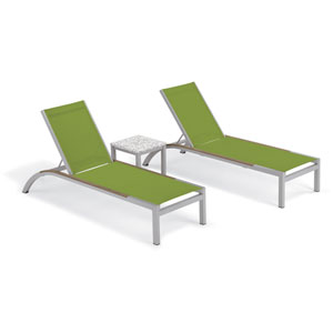 Argento 3 -Piece Chaise and Travira End Table Set - Powder Coated Aluminum Frame - Lite-Core Ash Table Top - Tekwood Vintage