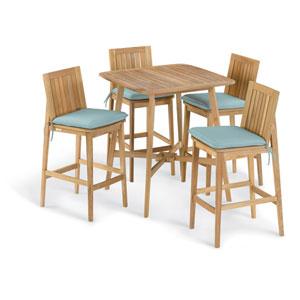 Islay 5 -Piece 36-Inch Square Bar Set - Canvas Mineral Blue Cushion