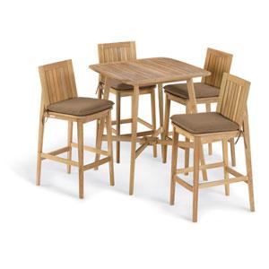Islay 5 -Piece 36-Inch Square Bar Set - Dupione Walnut Cushion