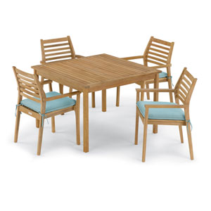 Classic 5 -Piece 42-Inch Square Dining Table and Mera Stacking Armchair Set - Canvas Mineral Blue Cushion