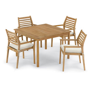 Classic 5 -Piece 42-Inch Square Dining Table and Mera Stacking Armchair Set - Canvas Cushion