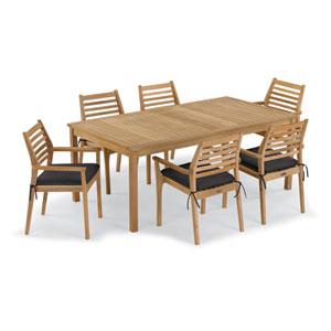 Hampton 7 -Piece 76-Inchx40-Inch Table and Mera Stacking Armchair Set - Canvas Black Cushion