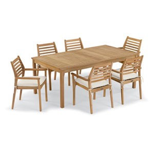 Hampton 7 -Piece 76-Inchx40-Inch Table and Mera Stacking Armchair Set - Canvas Cushion
