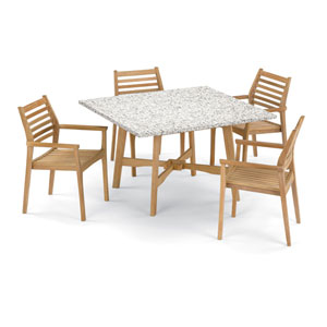 Wexford 5 -Piece 48-Inch Dining Table and Mera Stacking Armchair Set - Shorea Natural Armchair - Lite-Core Ash Table Top - No