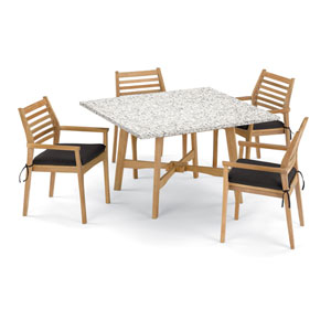 Wexford 5 -Piece 48-Inch Dining Table and Mera Stacking Armchair Set - Shorea Natural Armchair - Lite-Core Ash Table Top -