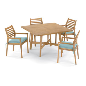 Wexford 5 -Piece 48-Inch Dining Table and Mera Stacking Armchair Set - Shorea Natural Armchair - Shorea Natural Table Top -