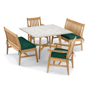Wexford 5 -Piece Table, Chair, and Bench Dining Set - Shorea Natural Chair - Lite-Core Ash Table Top - Hunter Green Cushions