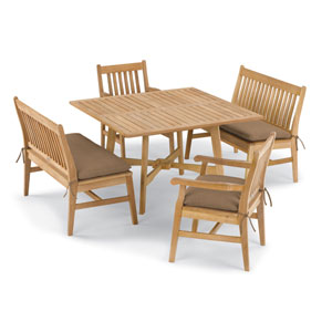 Wexford 5 -Piece Table, Chair, and Bench Dining Set - Shorea Natural Chair - Shorea Natural Table - Dupione Walnut Cushions