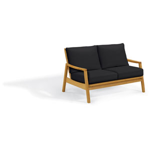 Siena Loveseat - Natural Shorea - Black Onyx Polyester Cushion