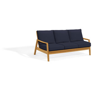 Siena Sofa - Natural Shorea - Admiral Blue Polyester Cushion