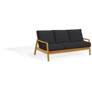 Siena Sofa - Natural Shorea - Black Onyx Polyester Cushion