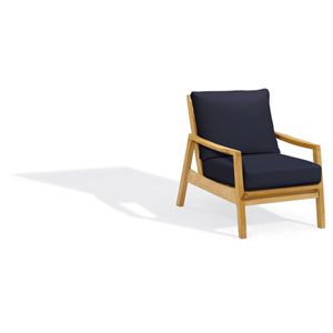 Siena Club Chair - Natural Shorea - Admiral Blue Polyester Cushion