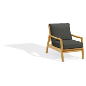 Siena Club Chair - Natural Shorea - Heather Black Polyester Cushion