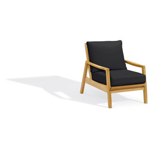 Siena Club Chair - Natural Shorea - Black Onyx Polyester Cushion