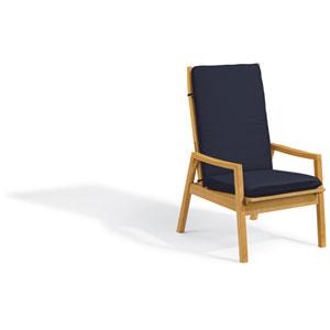 Siena Reclining Armchair - Natural Shorea - Admiral Blue Polyester Cushion