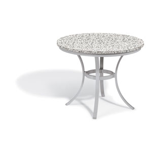 Travira 36 In. Round Café Bistro Table - Powder Coated Steel Frame - Lite-Core Granite Ash Top