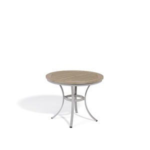 Travira Vintage Tekwood Top 36-Inch Round Cafe Bistro Table with Powder Coated Aluminum Frame
