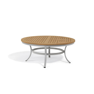 Travira Natural Tekwood Top 48-Inch Round Table with Powder Coated Aluminum Frame
