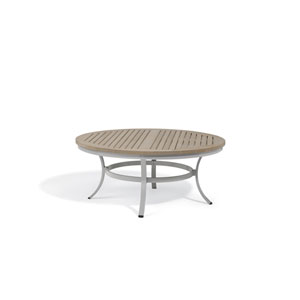 Travira Vintage Tekwood Top 48-Inch Round Table with Powder Coated Aluminum Frame