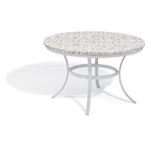 Travira 48-inch Round Dining Table - Powder Coated Aluminum Frame - Lite-Core Granite Ash Top