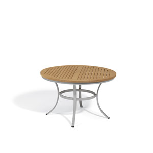 Travira Natural Tekwood Top 48-Inch Round Dining Table with Powder Coated Aluminum Frame