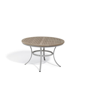Travira Vintage Tekwood Top 48-Inch Round Dining Table with Powder Coated Aluminum Frame