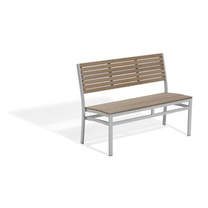 Travira Vintage Tekwood 48-Inch Stacking Bench with Powder Coated Aluminum Frame