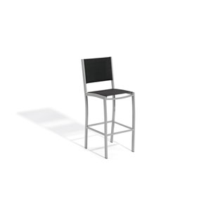 Travira Black Sling Seat Bar Chair with Powder Coated Aluminum Frame