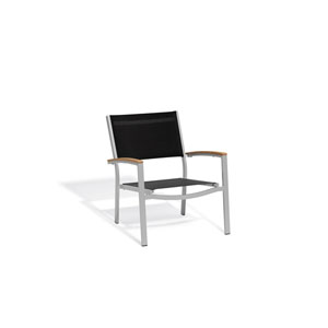 Travira Black Sling Side Chair with Natural Tekwood Armcaps, Set of 4