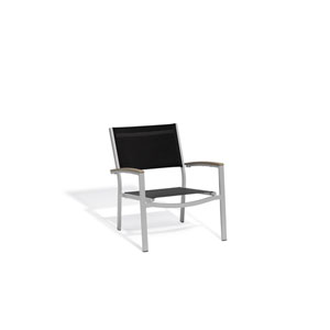 Travira Black Sling Side Chair with Vintage Tekwood Armcaps, Set of 2