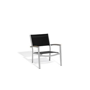 Travira Black Sling Side Chair with Vintage Tekwood Armcaps, Set of 4