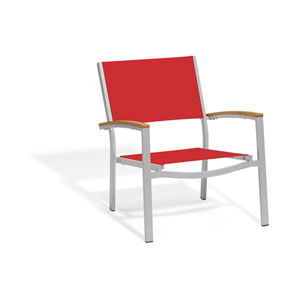 Travira Chat Chair - Powder Coated Aluminum Frame - Red Sling Seat - Teak Armcaps - Set of 2
