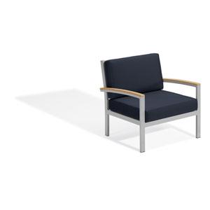 Travira Club Chair - Natural Tekwood - Midnight Blue