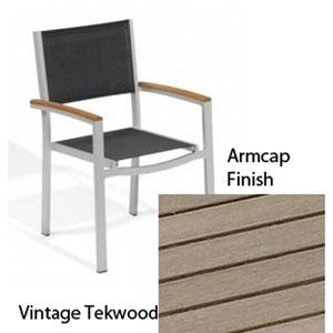 Travira Black Sling Armchair with Vintage Tekwood Armcaps, Set of Two