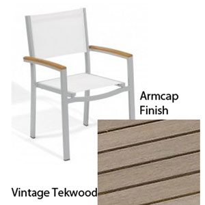 Travira Natural Sling Armchair with Vintage Tekwood Armcaps, Set of Two