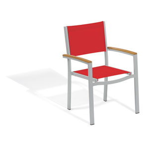 Travira Sling Armchair - Powder Coated Aluminum Frame - Red - Tekwood Natural Armcaps - Set of 2