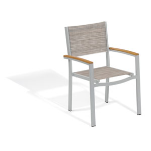Travira Sling Armchair - Powder Coated Aluminum Frame - Bellows - Tekwood Natural Armcaps - Set of 4