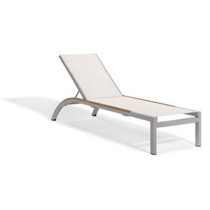 Argento Armless Chaise Lounge - Powder Coated Aluminum Frame - Natural Sling - Tekwood Natural Side Rails - Set of 4
