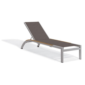 Argento Armless Chaise Lounge - Powder Coated Aluminum Frame - Cocoa Sling - Tekwood Natural Side Rails - Set of 2