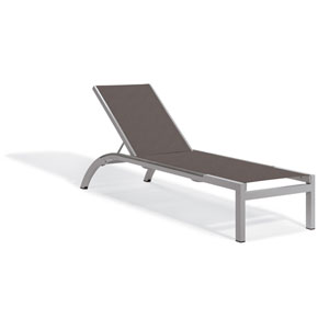 Argento Armless Chaise Lounge - Powder Coated Aluminum Frame - Cocoa Sling - Argento Side Rails - Set of 4