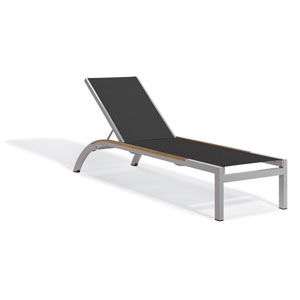 Argento Armless Chaise Lounge - Powder Coated Aluminum Frame - Ninja Sling - Tekwood Natural Side Rails - Set of 2